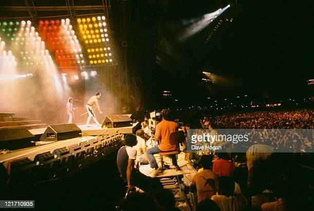Freddie Mercury and Queen on stage at the Rock in Rio festival Brazil January 1985