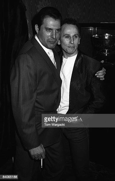 Freddie Mercury and Wayne Sleep at party for musical 42nd Street on August 8 1984 in London England