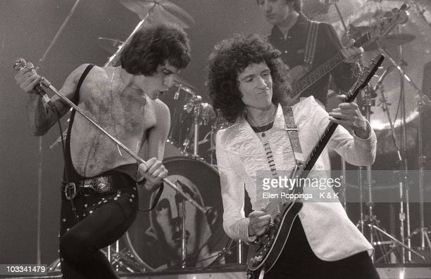 Freddie Mercury Brian May and John Deacon from Queen perform live on stage at Ernst Merck Halle in Hamburg Germany on April 14 1978