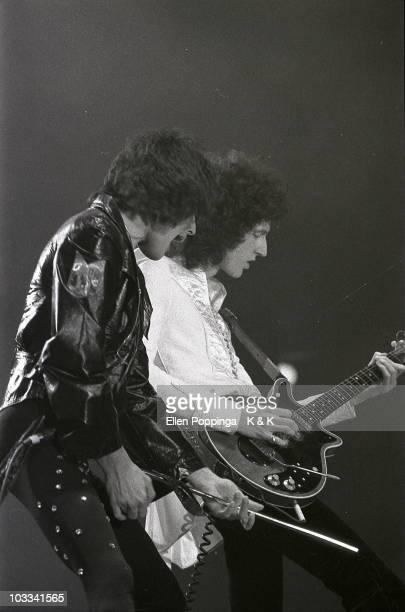 Freddie Mercury Brian May Frontmen of British RockBand Queen 1978 live on stage