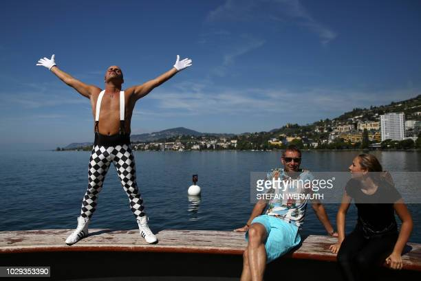 Freddie Mercury fan Eros from Italy poses on September 8 2018 in Montreux as fans gather like every year to celebrate the star's birthday Queen...