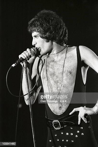 Freddie Mercury from Queen performs live on stage at Ernst Merck Halle in Hamburg Germany on April 14 1978