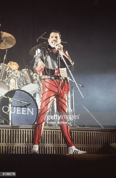 Freddie Mercury lead singer of 1970s hard rock quartet Queen in concert