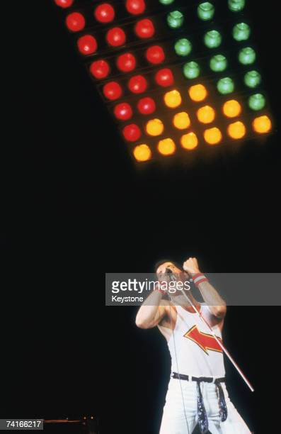 Freddie Mercury lead singer of British rock group Queen on stage at Milton Keynes Buckinghamshire 5th June 1982