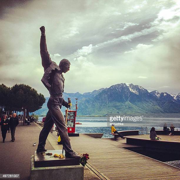 freddie mercury monument in montreux, switzerland - montreux stock pictures, royalty-free photos & images