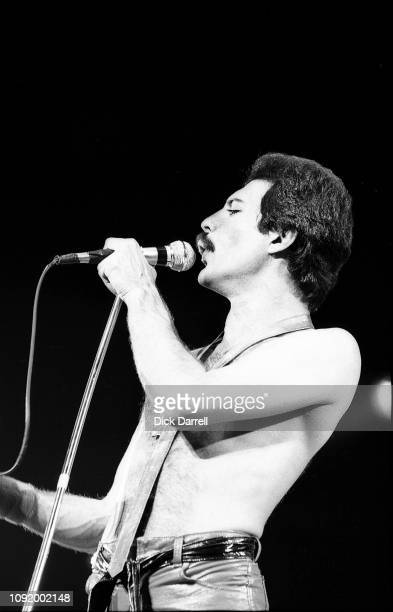 Freddie Mercury of British rock band Queen performing at CNE Grandstand in Toronto on August 30th, 1980.