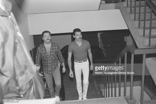 Freddie Mercury of Queen arrives at the venue on the band's Hot Space Japan tour Fukuoka Japan 19 October 1982 It was the band's fifth visit to Japan