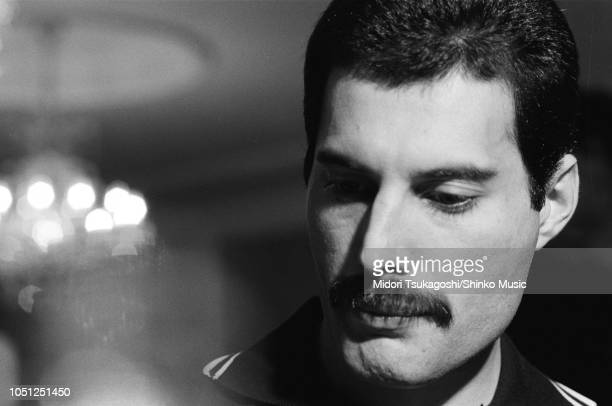 Freddie Mercury of Queen, interview and photo session for 'Music Life' magazine, on the band's Hot Space Japan tour at a hotel in Fukuoka, Japan, 19...