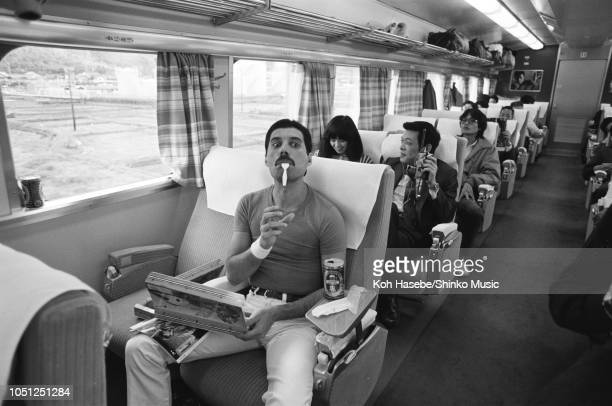Freddie Mercury of Queen on the Osaka Station platform leaving for Nagoya during the Hot Space Japan tour Nishinomiya Japan 25 October 1982 It was...