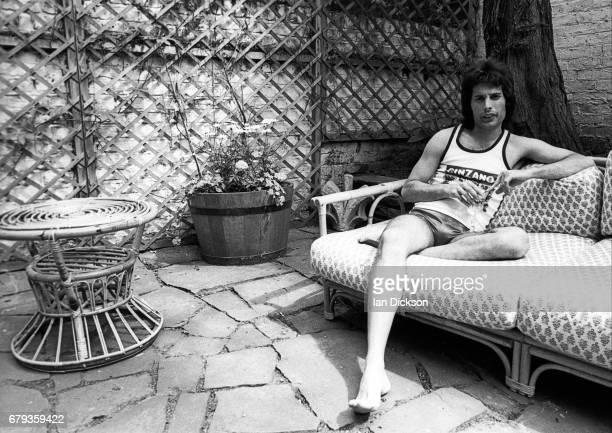 Freddie Mercury of Queen portrait at home Holland Park London 1975