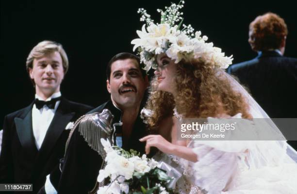 Freddie Mercury of Queen with actress Jane Seymour at the Fashion Aid show in aid of African famine relief UK 6th November 1985
