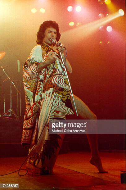 Freddie Mercury of the British rock band Queen performs at The Forum in March 1977 in Inglewood, California.