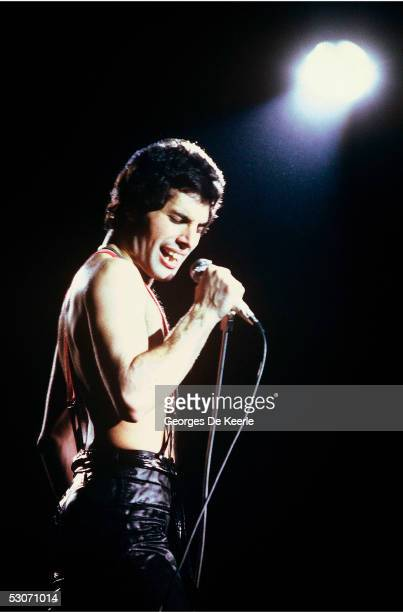 Freddie Mercury of the rock band Queen performs in concert June 1979 in Paris France