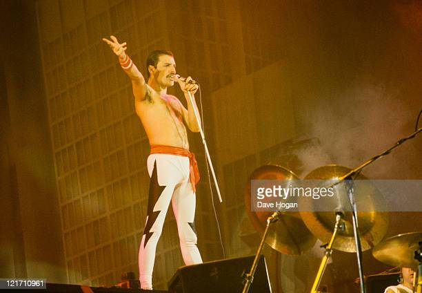 Freddie Mercury on stage during Queen's performance at the Rock in Rio festival Brazil January 1985 The festival ran for 10 days and over 1 million...