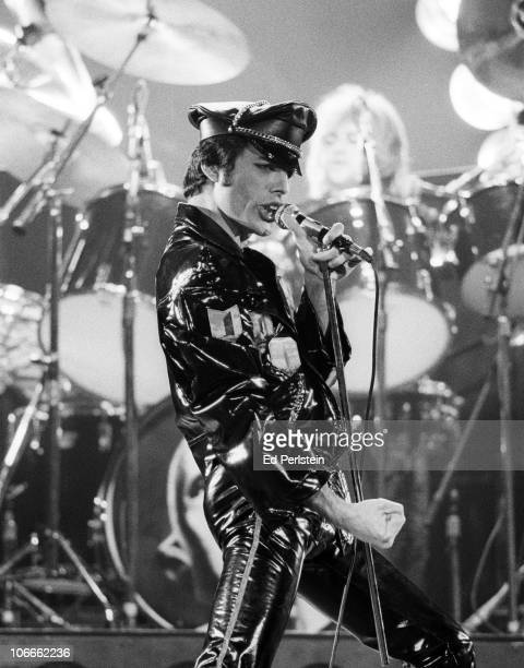 Freddie Mercury performs with Queen at the Oakland Coliseum in December 1978 in Oakland California