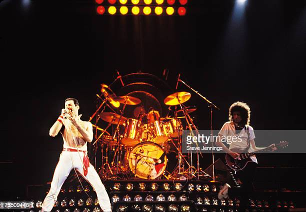 Freddie Mercury Roger Taylor and Brian May of Queen 1982 Tour at the Various Locations in Oakland California