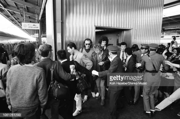 Freddie Mercury, Roger Taylor, Brian May of Queen on the Osaka Station platform leaving for Nagoya during the Hot Space Japan tour, Nishinomiya,...