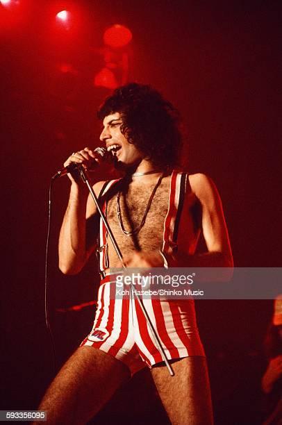 Freddie Mercury singing at Nippon Budokan Tokyo March 22 1976