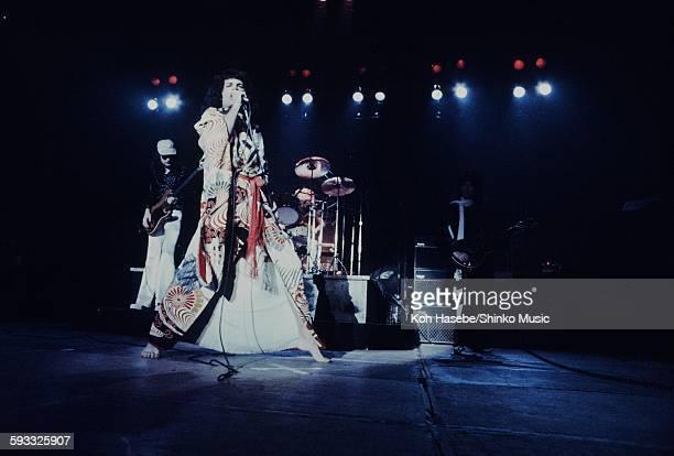 Freddie Mercury singing in kimono at Nippon Budokan, Tokyo, March 22, 1976.