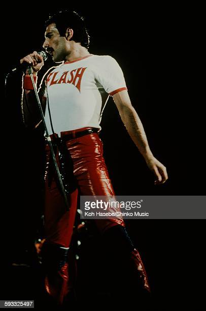 Freddie Mercury singing in red leather pants at Nippon Budokan Tokyo February 1981
