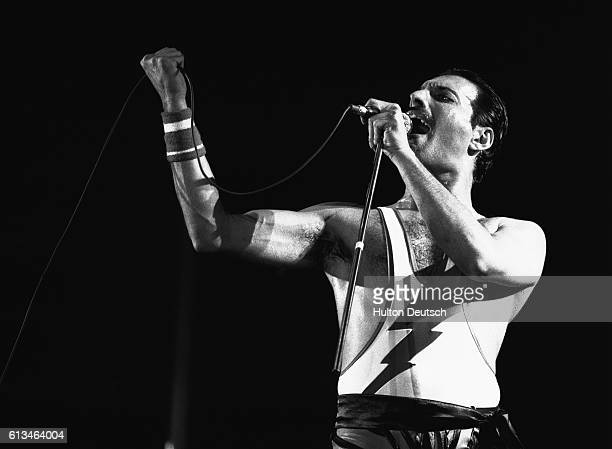 Freddie Mercury the lead singer of the rock band Queen performing during the band's 1984 European Tour