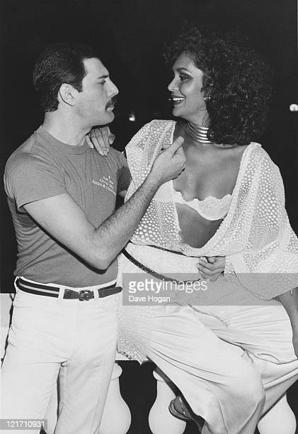 Freddie Mercury with Biba at a Queen party during the Rock in Rio festival Brazil 13th January 1985