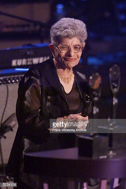 Freddie Mercury's mother Jer Bulsara accepts her son's award as Queen is inducted into the Rock and Roll Hall of Fame at the 16th Annual Rock and...