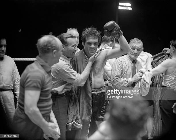 Freddie Mills celebrating after beating Gus Lesnevich of the USA on points in the World Light Heavyweight title fight at White City