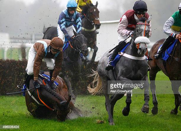Freddie Mitchell riding Doitforthevillage fall at the second flight of hurdles in The Winner Rental Services Conditional Jockeys' Novices' Hurdle...