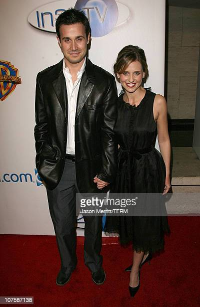 Freddie Prinze Jr and Sara Michelle Gellar during AOL and Warner Bros Launch In2TV at Museum of TV Radio in Los Angeles California