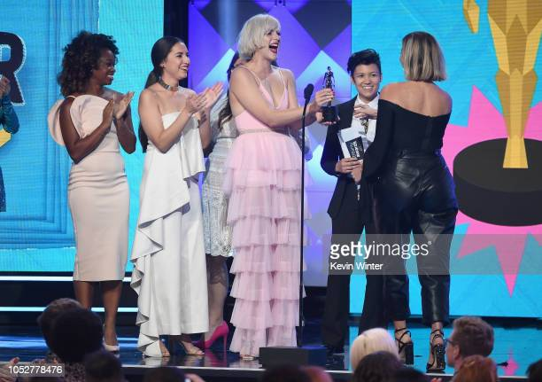 Freddie Ransome Chantel Houston Devin Lytle Jen Ruggirello present the Storyteller award to Gabbie Hanna onstage during The 8th Annual Streamy Awards...
