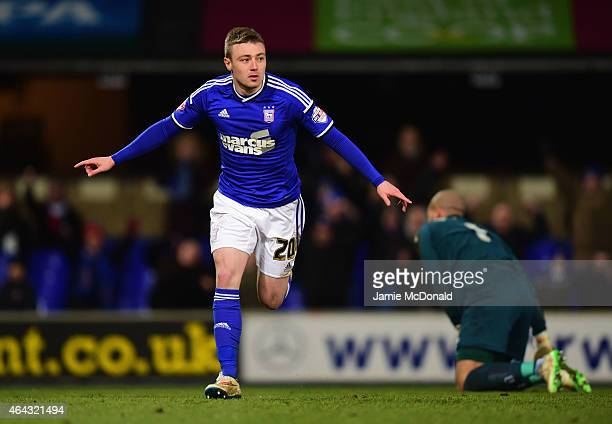 Freddie Sears of Ipswich Town celebrates as he scores their second goal as goalkeeper Darren Randolph of Birmingham City looks dejected during the...