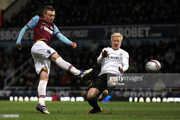 Freddie Sears of West Ham United shoots at goal during the npower Championship match between West Ham United and Barnsley at the Boleyn Ground on...