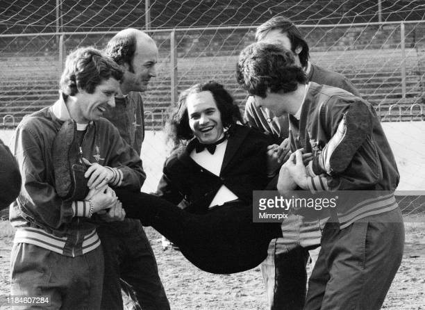 Freddie Starr Comedian at Wimbledon Football Club to do some filming for his TV show Who Do You Do Wednesday 14th January 1976 pictured impersonating...