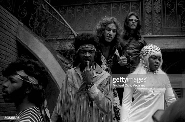 Freddie Stone Larry Graham Jerry Martini and Rose Stone of the psychedelic soul group 'Sly and the Family Stone' poses for a portrait on the Warner...