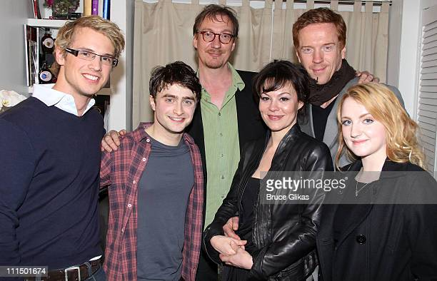 Freddie Stroma Daniel Radcliffe David Thewlis Helen McCrory Damian Lewis and Evanna Lynch pose backstage at the hit musical How to Succeed in...