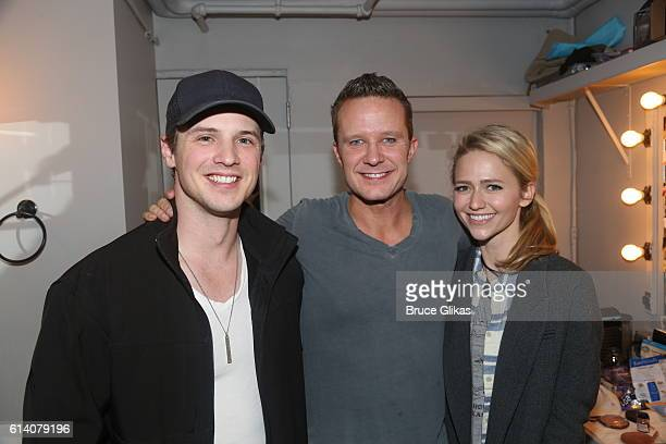 Freddie Stroma Will Chase and Johanna Braddy pose backstage at the hit musical Something Rotten on Broadway at The St James Theater on October 11...