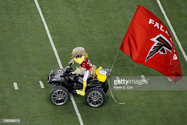Freddie the Falcon mascot for the Atlanta Falcons performs against the Green Bay Packers during their 2011 NFC divisional playoff game at Georgia...