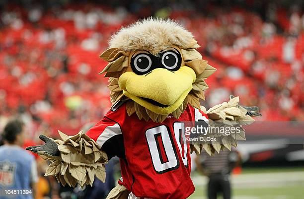 Freddie the Falcon mascot of the Atlanta Falcons before the game against the Arizona Cardinals at Georgia Dome on September 19 2010 in Atlanta Georgia