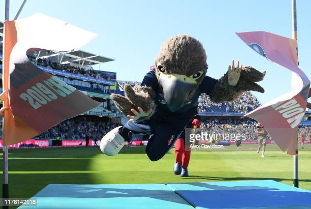 Freddie the Falcon of Derbyshire wins the mascot race 2019 during the Vitality T20 Blast Semi Final match between Derbyshire Falcons and Essex Eagles...