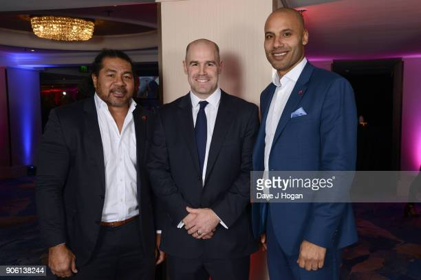 Freddie Tuilagil Charlie Hodgson and Leon Lloyd attend The Nordoff Robbins Six Nations Championship Rugby dinner held at Grosvenor House on January...