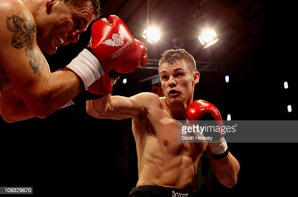 Freddie Turner in action with Billy Smith during the Welterweight bout at York Hall on February 19 2011 in London England
