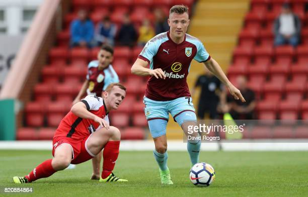 Freddie Ulvestad Burnley moves away with the ball during the pre season friendly match between Kidderminster Harriers and Burnley at Aggborough...