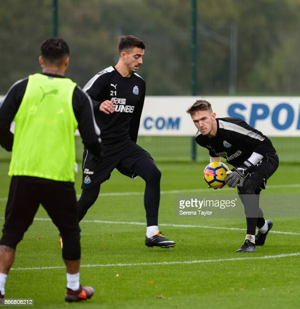 Freddie Woodman holds on to the ball during the Newcastle United Training Session at The Newcastle United Training Centre on October 26 in Newcastle...