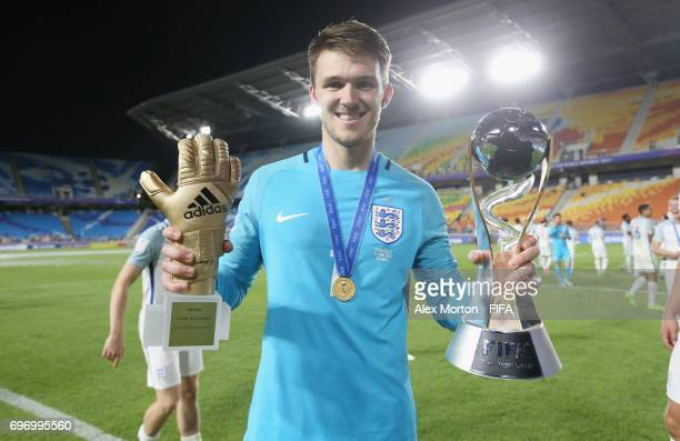 Freddie Woodman of England celebrates with the trophy and his golden glove award after the FIFA U20 World Cup Korea Republic 2017 Final match between...