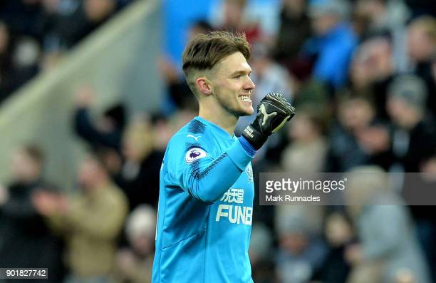 Freddie Woodman of Newcastle United celebrates the 2nd Newcastle goal during The Emirates FA Cup Third Round match between Newcastle United and Luton...