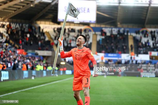 Freddie Woodman of Swansea City celebrates at full time following the Sky Bet Championship Play-off Semi Final 2nd Leg match between Swansea City and...