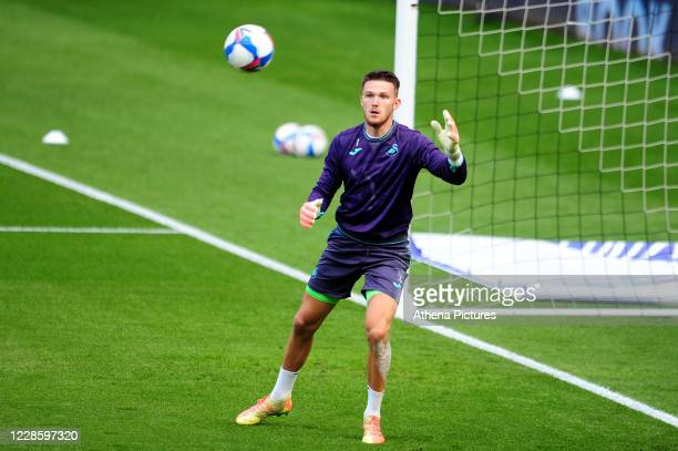 Freddie Woodman of Swansea City during the prematch warmup for the Sky Bet Championship match between Swansea City and Birmingham City at the Liberty...