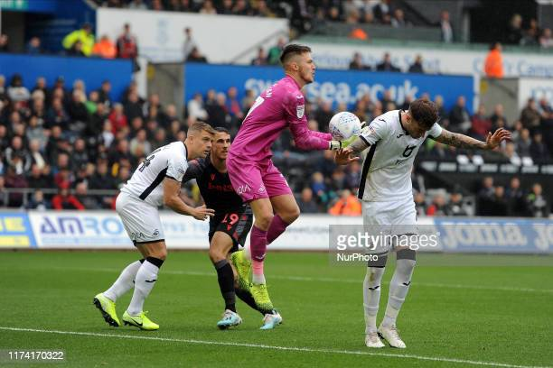 Freddie Woodman of Swansea City during the Sky Bet Championship match between Swansea City and Stoke City at the Liberty Stadium on October 05, 2019...