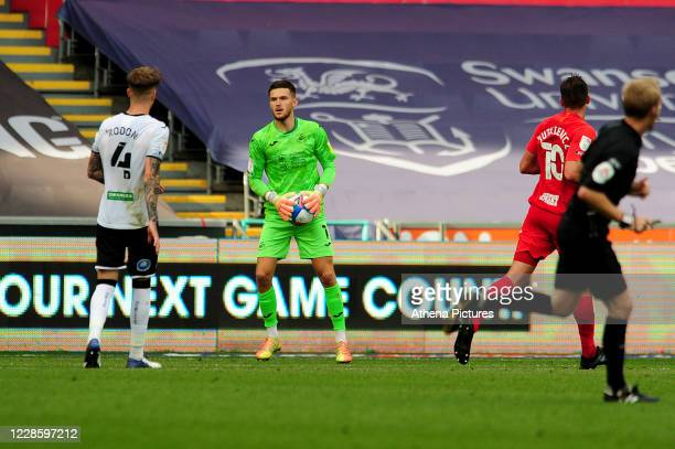 Freddie Woodman of Swansea City during the Sky Bet Championship match between Swansea City and Birmingham City at the Liberty Stadium on September 19...